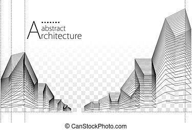 3D illustration Abstract Architecture Construction Background.