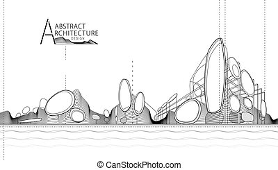 3D illustration Abstract Architecture landscape Line Drawing.