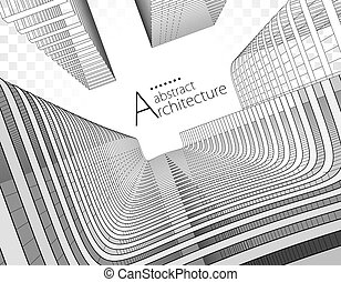 3D illustration Abstract Architecture Urban Geometry Drawing.