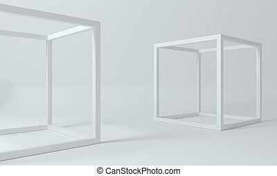 Abstract frame shapes of white cubes