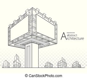 3D illustration Architectural Building Billboard Abstract Design