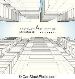 3D illustration Architecture building urban design abstract background.