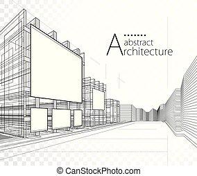 3D illustration Architecture Construction Building Design.