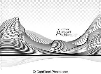 3D illustration Architecture Drawing Abstract Background.