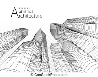 3D illustration Architecture Modern Urban Building Design.