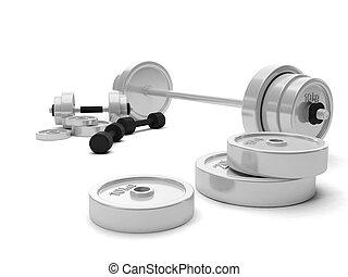 3d Illustration: Arrangement of sports equipment, dumbbells barbell