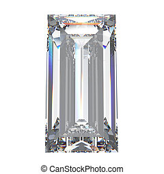 3D illustration baguette diamond stone