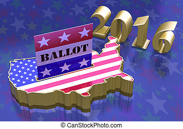 3D Illustration Ballot box in shape of USA map with USA flag superimposed. Ballot paper containing with word ballot in slot. All on blue background with stars.