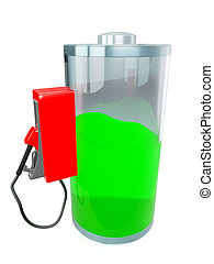 3d illustration: battery, battery charge on an isolated white background