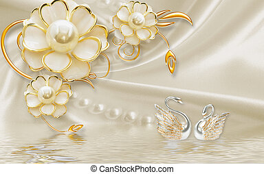 3d illustration, beige background, large gilded flowers with pearls, a pair of silver swans, reflected in water