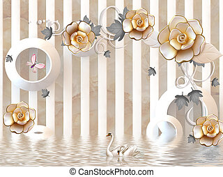3d illustration, beige marble background, vertical stripes, white rings, large beige gold-plated rosebuds, pink butterfly, pair of swans, reflection in water