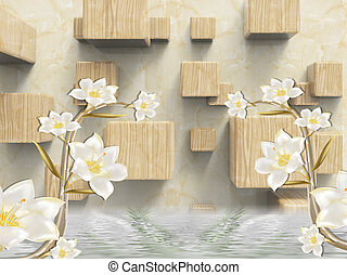 3d illustration, beige marble background, wooden cubes, two branches of lilies with white flowers, reflected in water