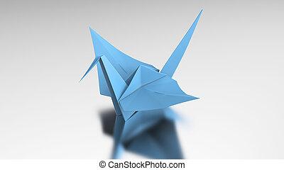 3D illustration blue origami bird