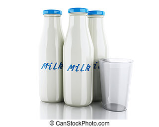 3d, illustration., botellas de leche, y, vidrio, blanco, plano de fondo