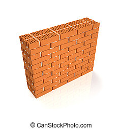 3d illustration. Brick wall on a white background