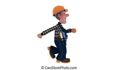 3d illustration Builder worker in overalls - 3D illustration...