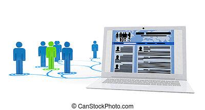 3d, illustration:, busca trabalho, sobre, internet, a, teia, local., muitos, candidatos