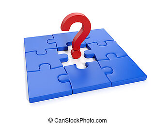 3d Illustration: Business and Finance. Solving problems in business, a question mark