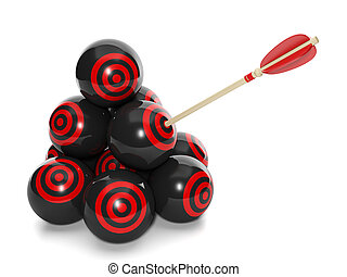 3d Illustration: Business concept. Group of balls with a target and arrow in one, choose the right solution