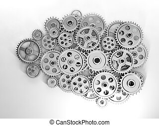 3d Illustration: Business ideas. Brain in gear made ??of the...