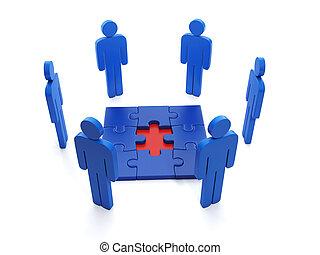 3d, illustration:, business, ideas., conclusion, les, droit, solutions, problème résout