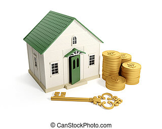3d illustration: Buying a home, real estate loan. Toy house with a golden key and a group of gold coins