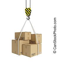 3d, illustration:, carga, transporte, grúa, gancho, y, cajas...