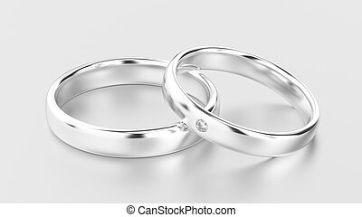 3D illustration classic white gold or silver rings with diamond