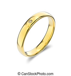 3D illustration classic yellow gold ring with diamond