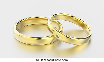 3D illustration classic yellow gold rings with diamond on a white background