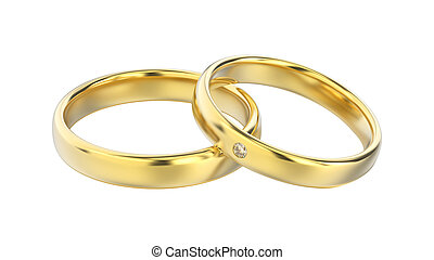 3D illustration classic yellow gold rings with diamond