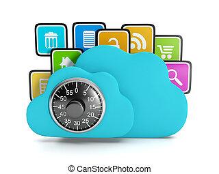 3d, illustration:, computertechnologie, internet., wolke, computerikon, informationen, sicherheit