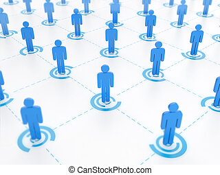 3d illustration, concept of social networking. A group of...