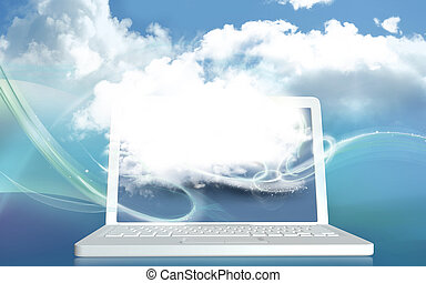 3D Illustration Concept with Digital Cloud on Laptop and with Blank Space for Creativity