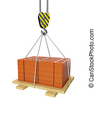 3d illustration: Construction and maintenance. Crane and a group of bricks