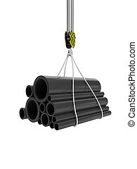 3d illustration: Construction Materials. The hook of the crane, and the group of pipes, lifting