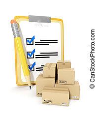 3d, illustration:, contabilità, di, beni, magazzino, di, goods., blocco note, e, matita, su, uno, sfondo bianco