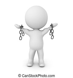 3D illustration conveying the concept of breaking free from chains. Isolated on white.