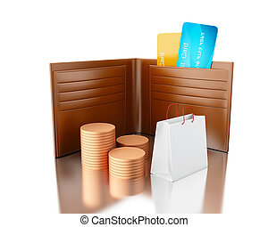 3d illustration. Credit cards in wallet with bag and stacks of coins