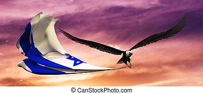 3d, illustration, de, aigle, et, drapeau, flotter, dans vent