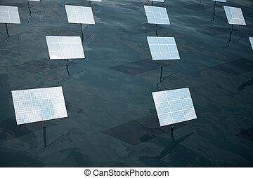 3d, illustration, de, grand, panneaux solaires, sur, mer, océan, ou, river., reflet, de, les, nuages, sur, les, photovoltaïque, cells., alternative, énergie propre, de, les, sun., puissance, écologie, technologie, electricity.