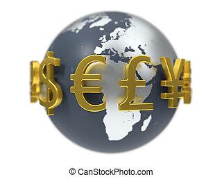 3d, illustration, de, monnaie, symbols.