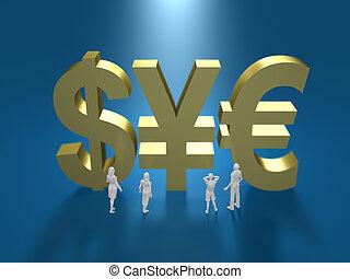 3d, illustration, de, système financier