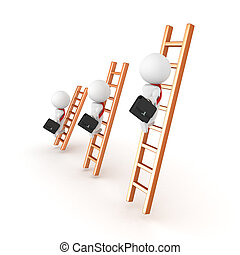 3D illustration depicting people on different levels of the corporate ladder