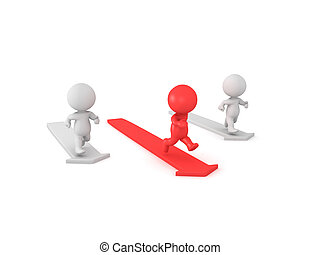 3D illustration depicting the concept of beating the competition