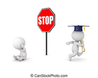 3D illustration depicting the concept of getting ahead due to higher education