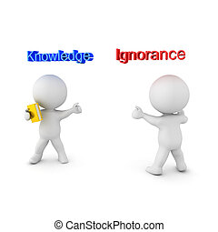 3D illustration depicting the concept of Knowledge versus Ignorance