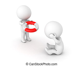 3D illustration depicting the concept of of offering help or support