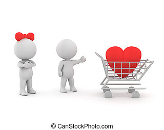 3D illustration depicting the concept of trying to buy affection