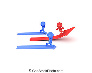 3D illustration depicting the idea of out doing your competitors